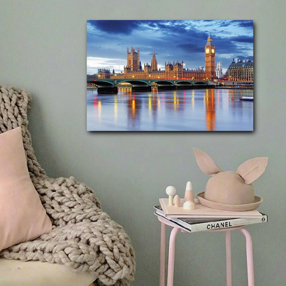 لوحة ساعة بيج بن لندن خشب ام دي اف مقاس 40x60 سنتيمتر