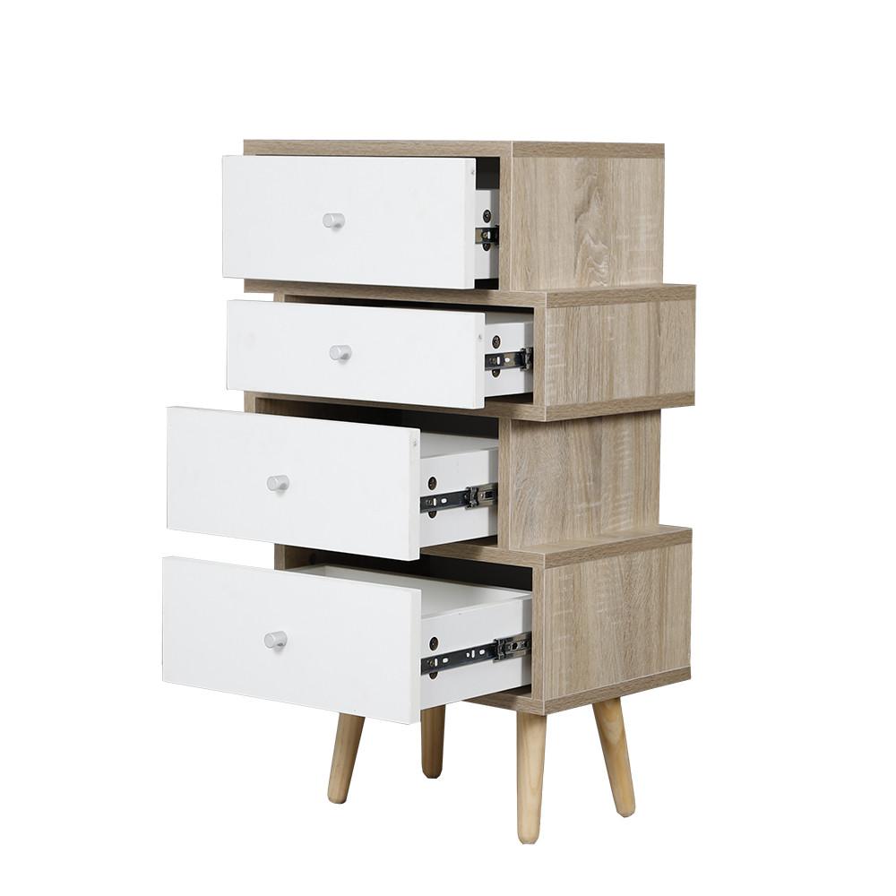 طاولة جانبية موديل فور خشب بأربعة أدراج تخزين واسعة لون أبيض وخشبي
