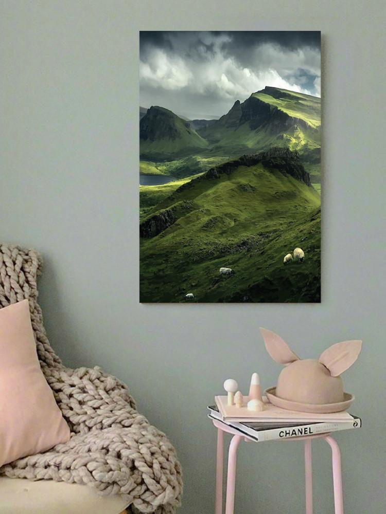 لوحة الجبال الخضراء خشب ام دي اف مقاس 40x60 سنتيمتر