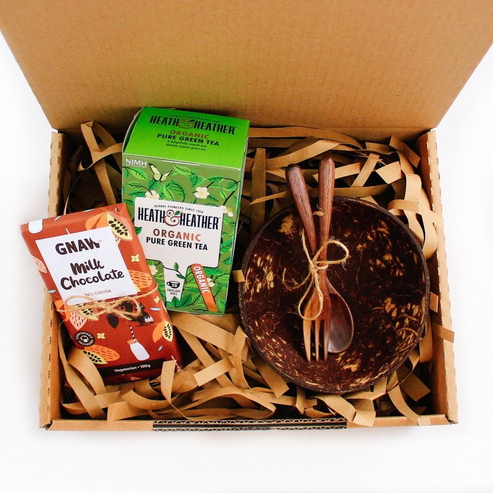 هدايا نباتي كيتو فيقن ريجيم شاي أواني خشب وعاء جوز الهند متجر هدايا