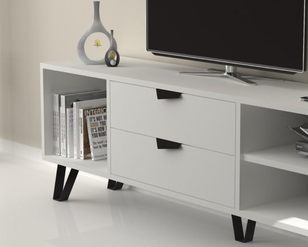 تجارة بلا حدود طاولة تلفاز خشبية بيضاء مصنوعة من خشب particle board