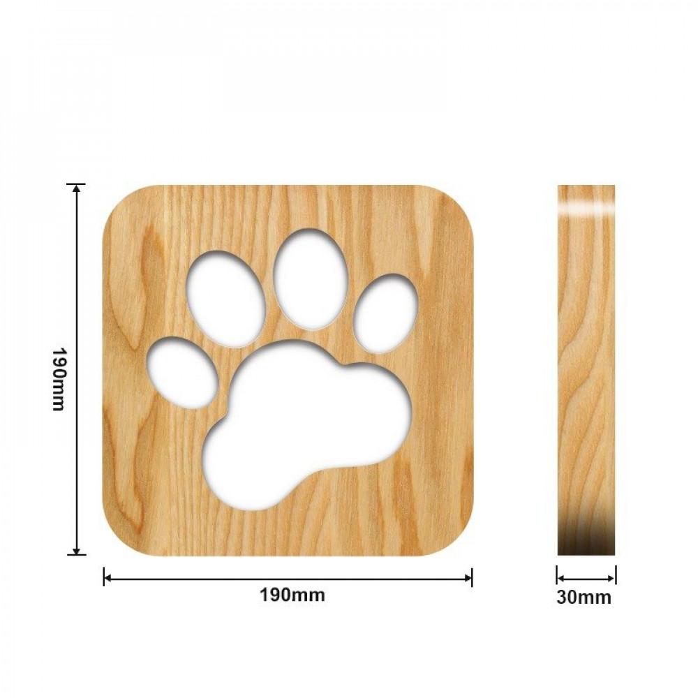 متجر مواسم تحفة فنية خشبية مضيئة بشكل بصمة القياسات التفصيلية للتحفة