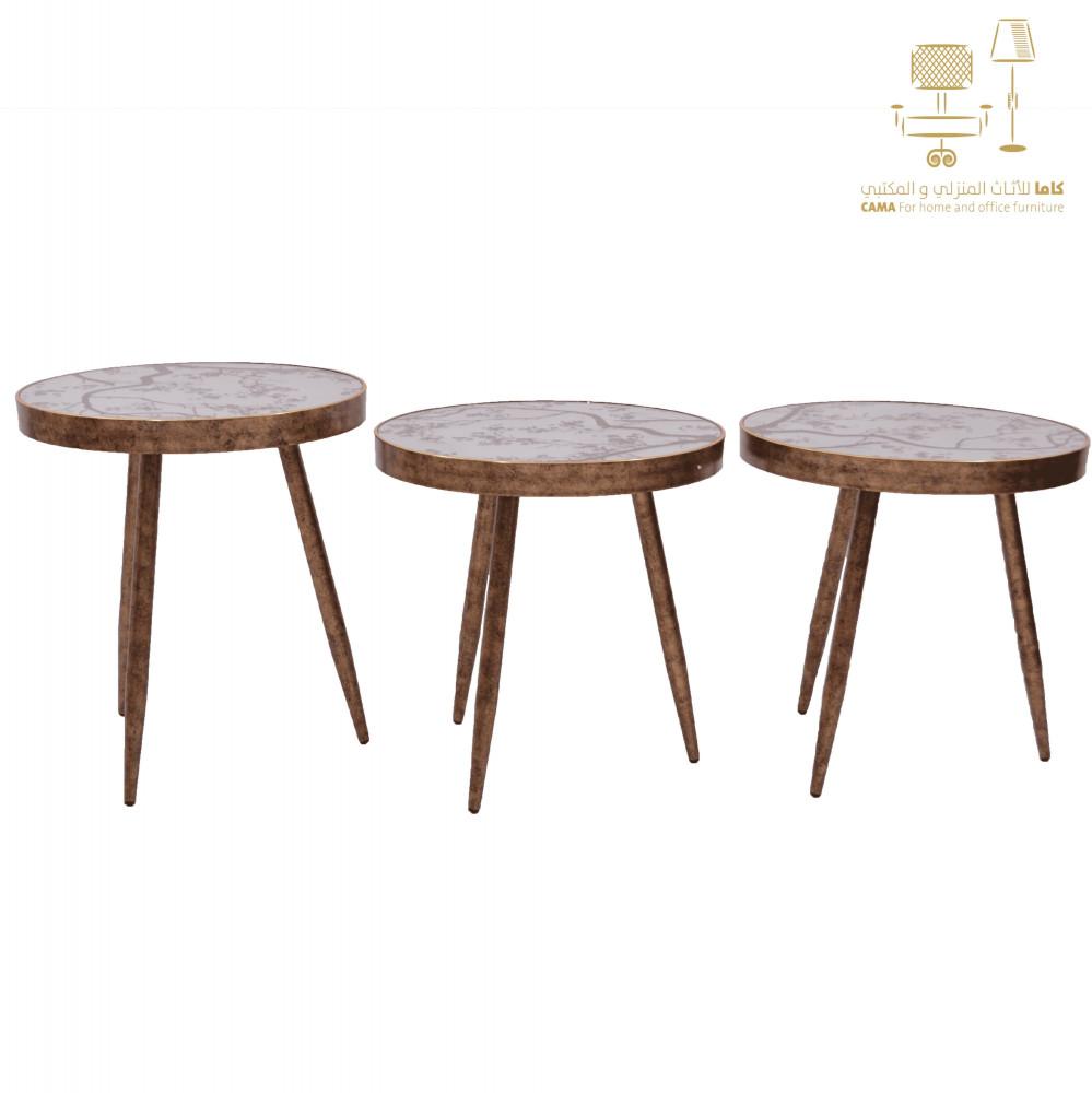 طاولة شاي وقهوة ذهبي 3قطع cx011 من كاما