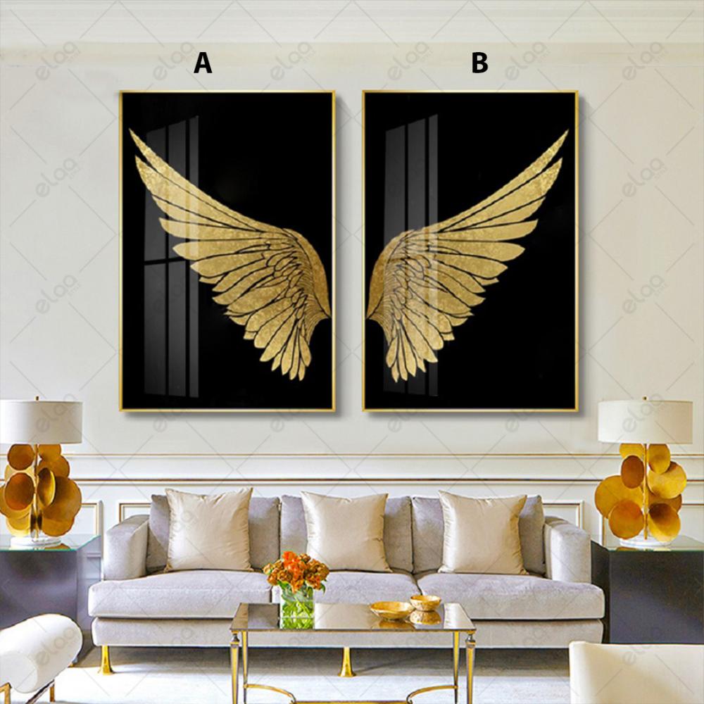 لوحات فن تجريدي لجناح طائر ذهبي بخلفية سوداء