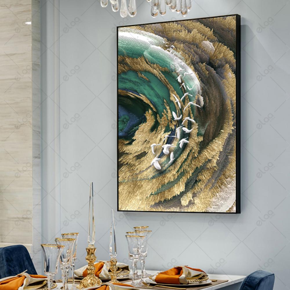 لوحة فن تجريدي بحر وجبال وطيور بدرجات البني والتركواز