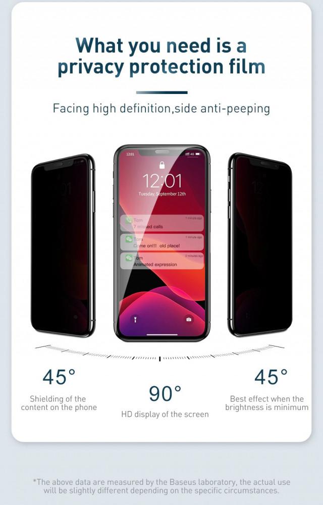 شاشة حماية 5D نانو أسود تدعم الخصوصية للايفون -iPhone