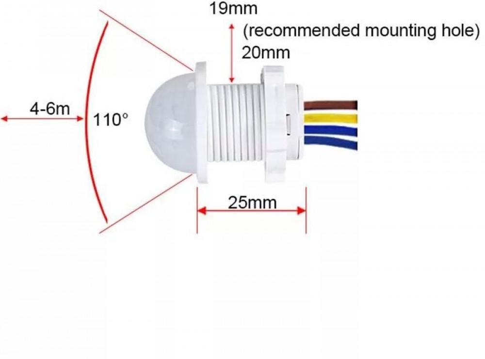 حساس التحكم الذكي للحركة لتشغيل الأضواء واغلاقها عند وجود حركة 110-220