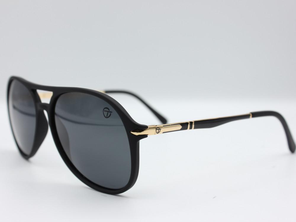 نظارة شمسية  كلاسيكيه من ماركة T لون اسود وذهبي للجنسين فاخرة جدا2021