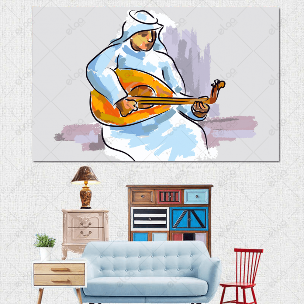 لوحة فنية لعازف عود عربي