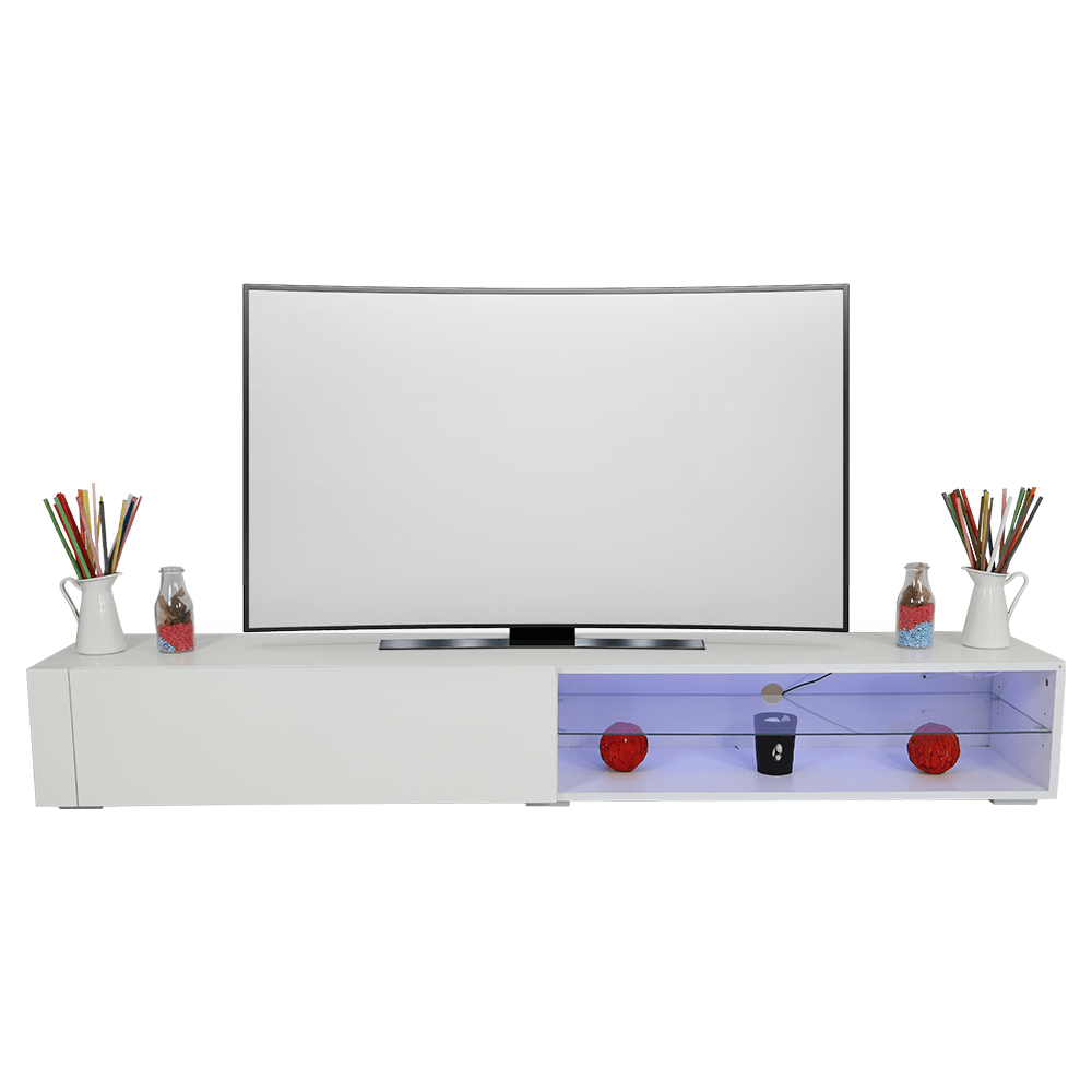 تجارة بلا حدود تقدم طاولة تلفاز خشبية برف زجاجي بيضاء اللون ليد مضيئة