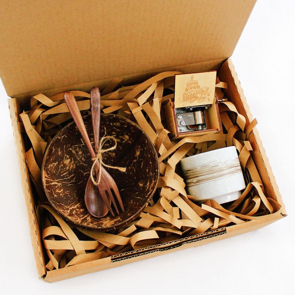 هدية جاهزة عيد الميلاد أواني خشبية صحن جوز الهند كوب قهوة متجر هدايا