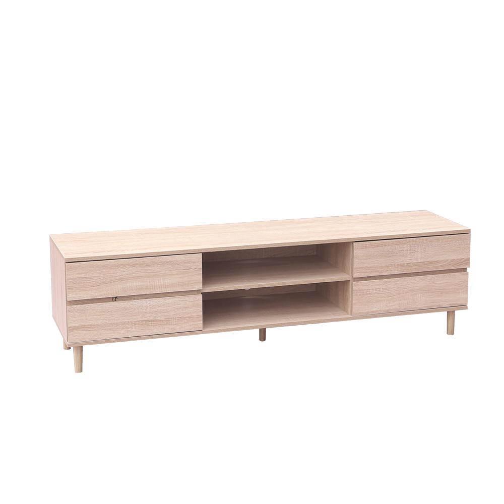 مواسم طاولة تلفاز بأربع أدراج ووحدات تخزين عميقة مع أرجل خشبية