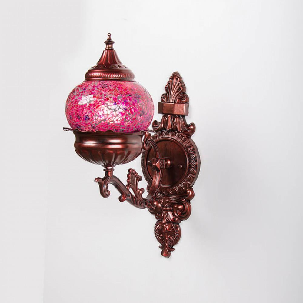 لمبة حائط مغربية بقاعدة معدنية مزخرفة وزجاج ملون - فانوس