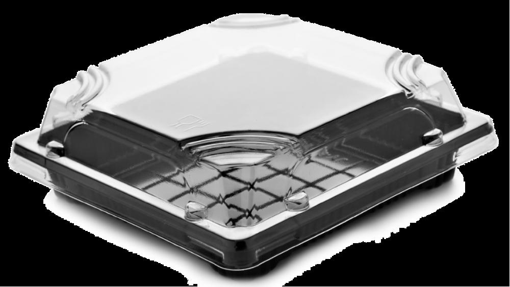 صحن اسود مربع بغطاء شفاف مقاس 13 50 حبة