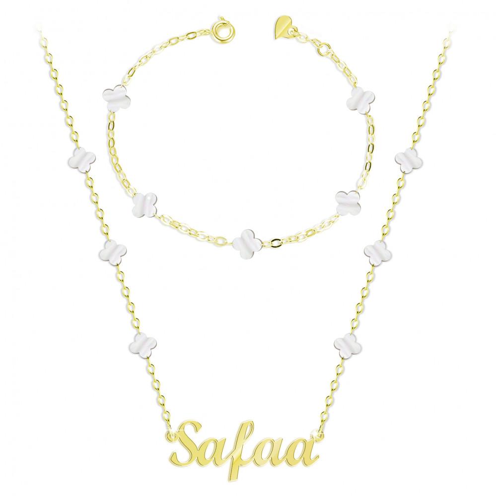 سلسال مع تعليقة اسم صفاء مع أسوارة فضة عيار 925 Alturjuman Jewelry