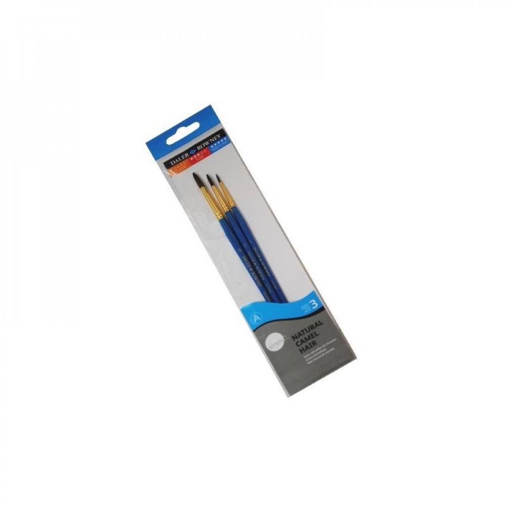 طقم فرش ديلر روني - 3 شعر طبيعي فرش مقبض قصير