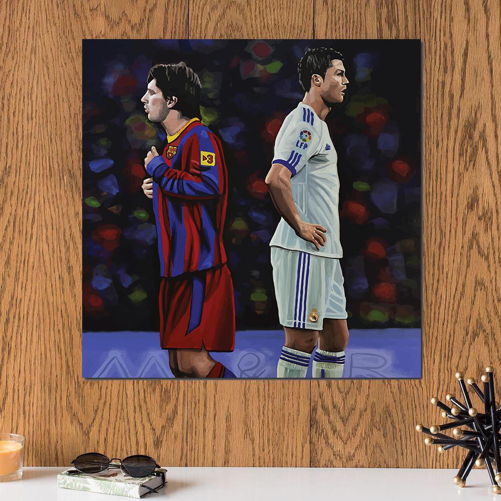 لوحة ميسي و رونالدو خشب ام دي اف مقاس 30x30 سنتيمتر