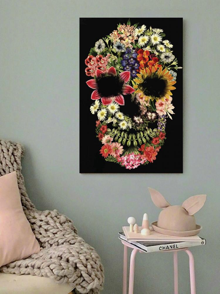 لوحة الجمجمة و الزهور خشب ام دي اف مقاس 40x60 سنتيمتر