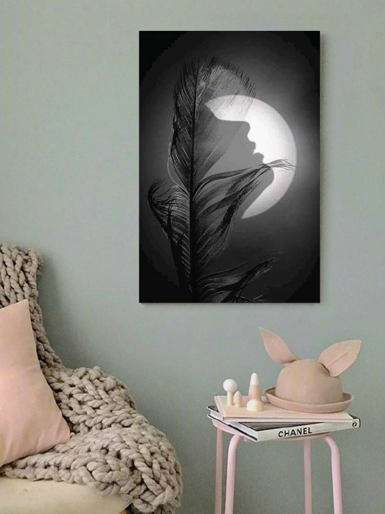 لوحة المرأة و القمر خشب ام دي اف مقاس 40x60 سنتيمتر