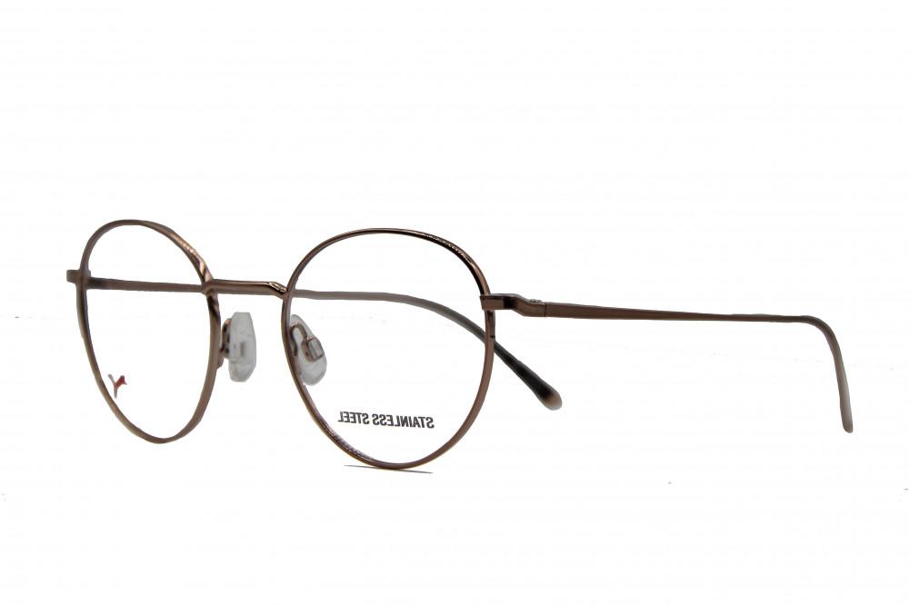 نظارة طبية من ماركة PUMA بتصميم دائري لون الاطار  نحاسي
