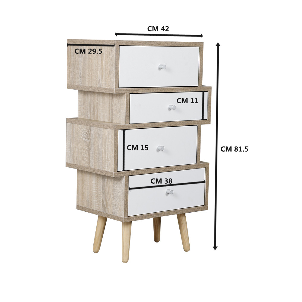 أبعاد طاولة جانبية موديل فور خشب بأربعة أدراج تخزين لون أبيض وخشبي