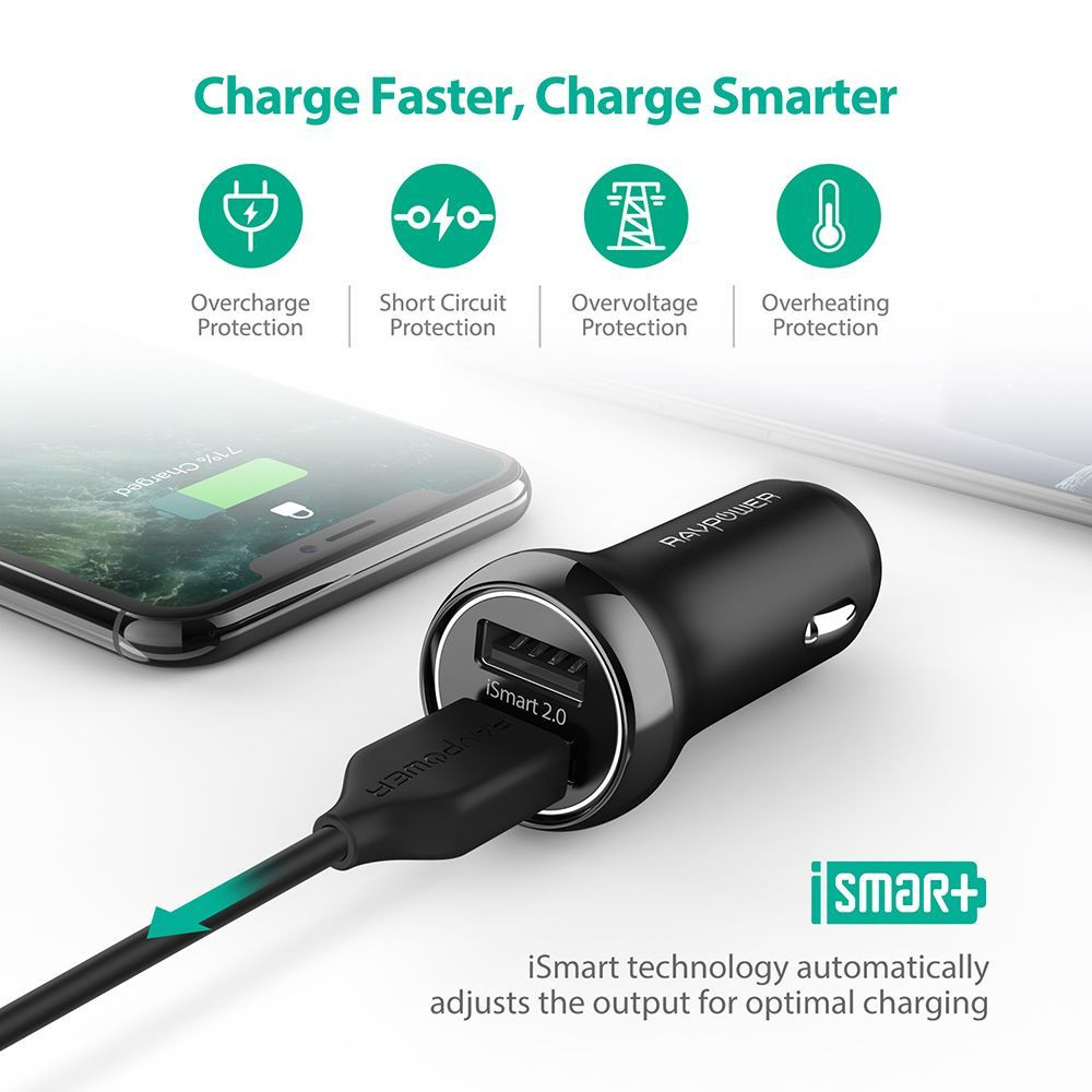 RAVPower 2 Port USB Car Charger iSmart 17W