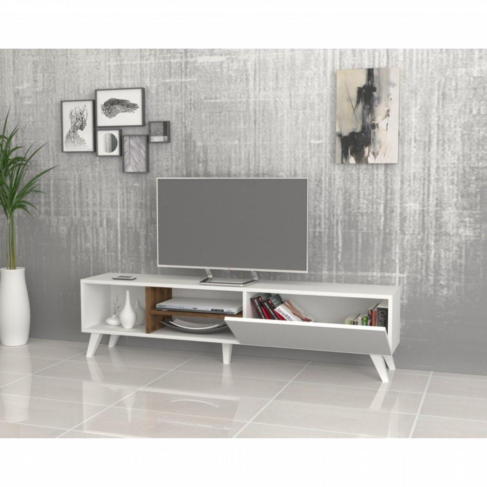 تجارة بلا حدود طاولة تلفاز خشبية لون أبيض وبني مزينة بالتحف والأنتيكات