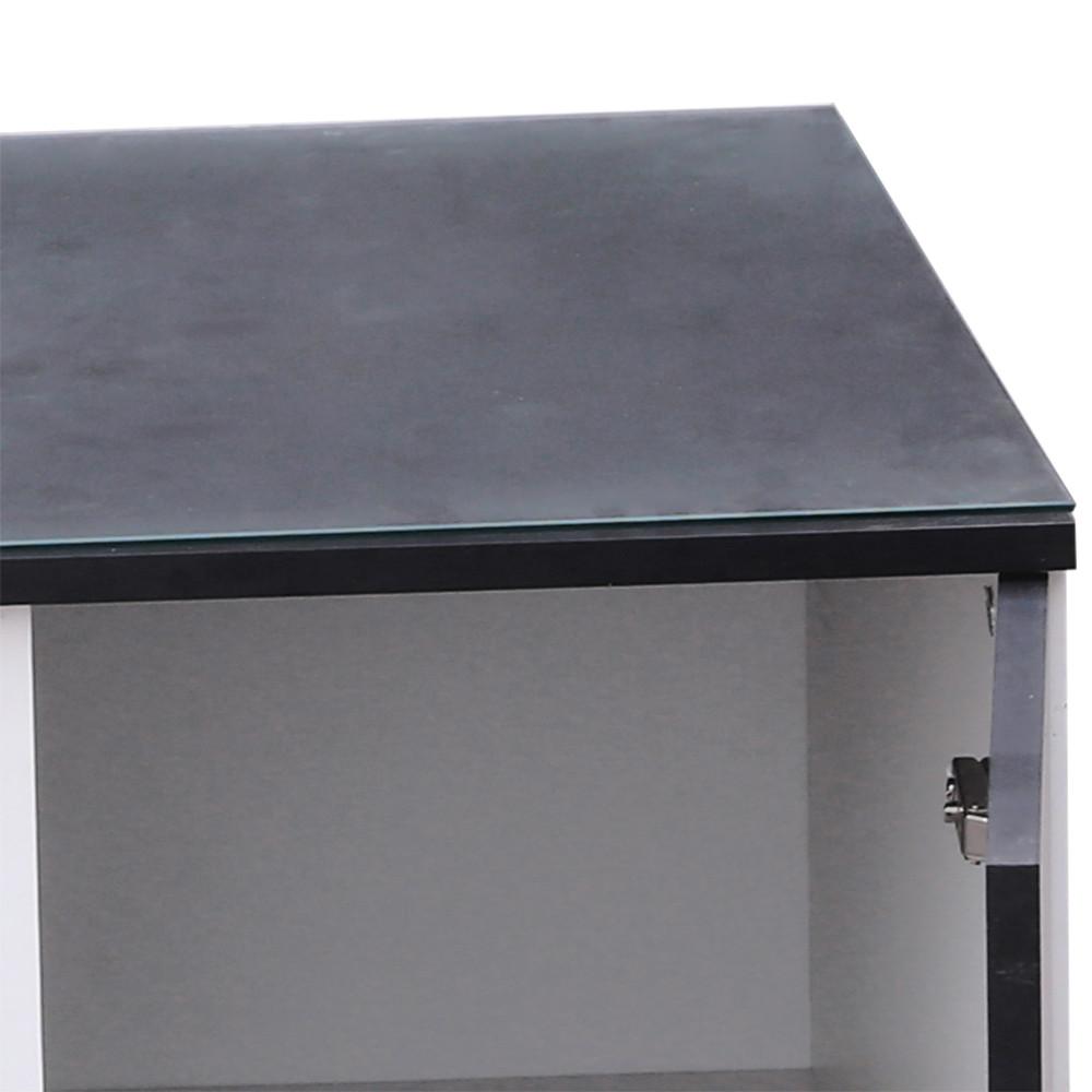طاولة ضيافة مع درج ووحدة تخزين موديل تاهيتي صناعة خشبية أبيض وأسود
