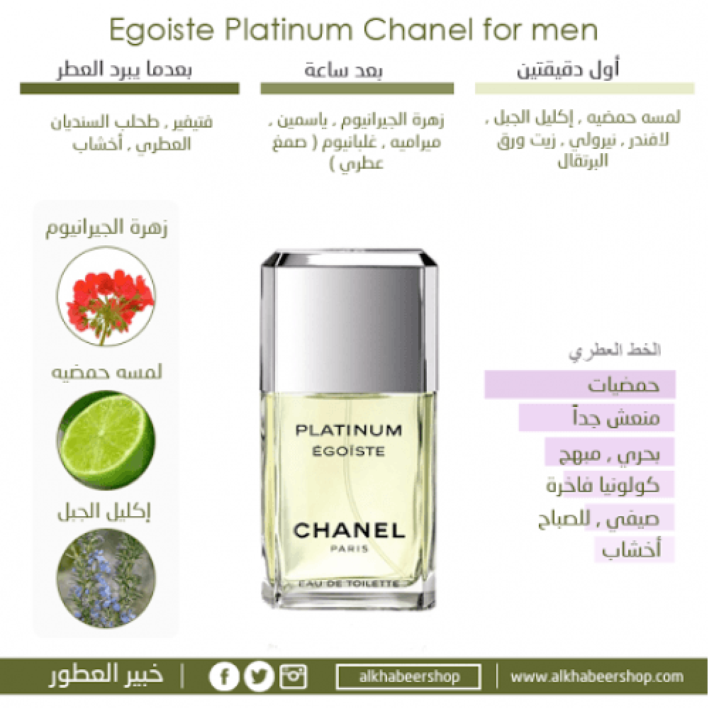Chanel Egoiste Platinum Eau de Toilette 50ml متجر خبير العطور