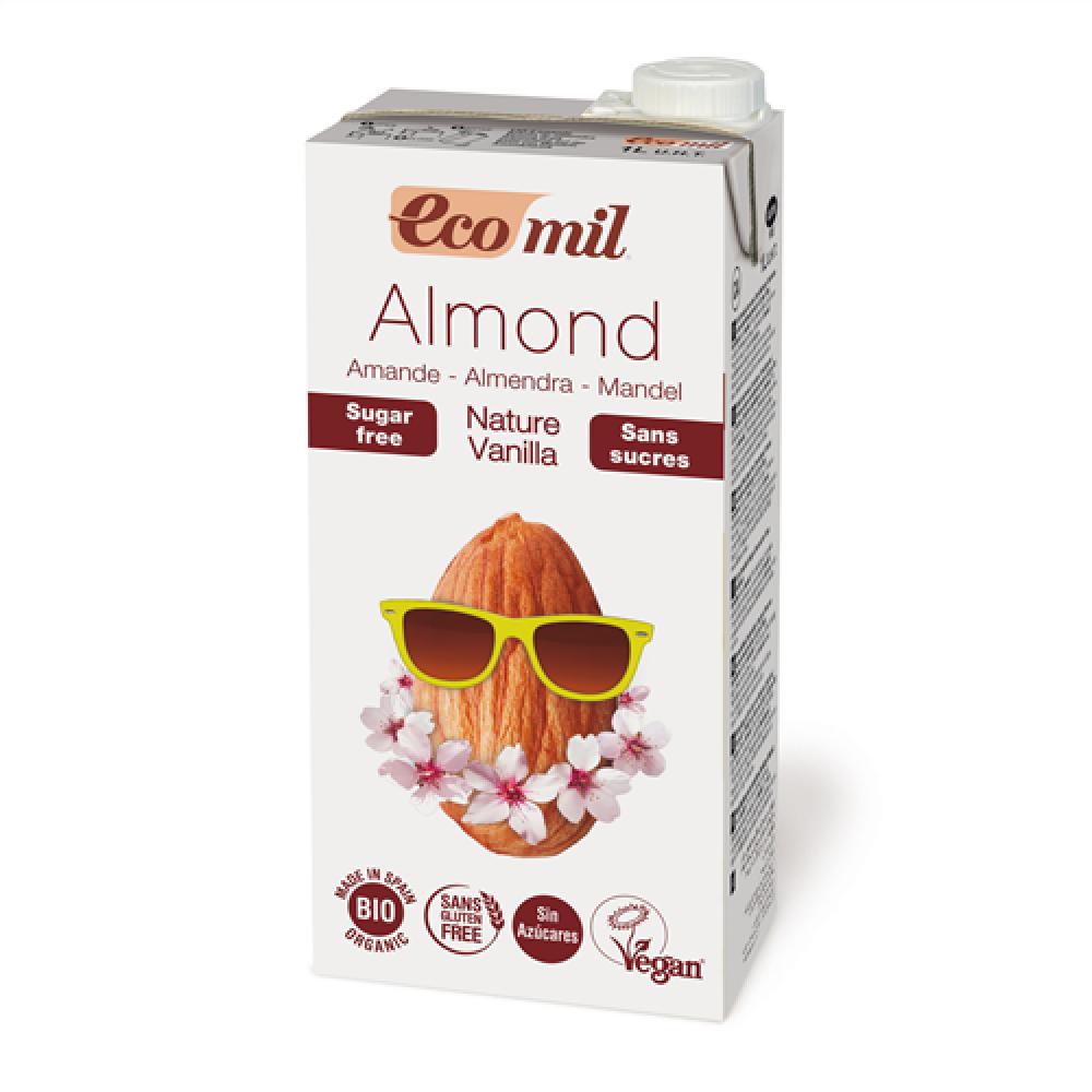 ايكوميل حليب اللوز العضوي بنكهة الفانيلا خالي من السكر