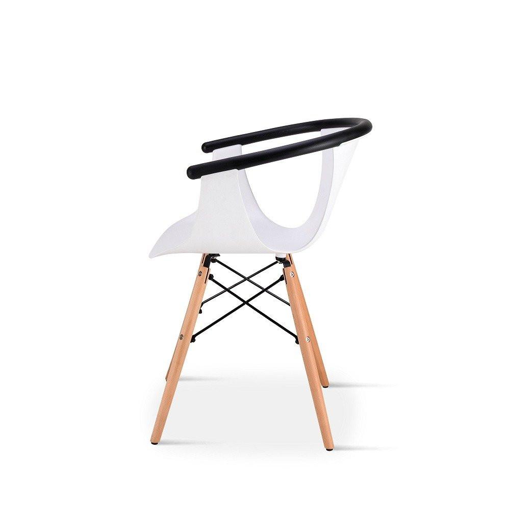 رؤية جانبية للكرسي في طقم كراسي 5 قطع لون أبيض من تجارة بلا حدود
