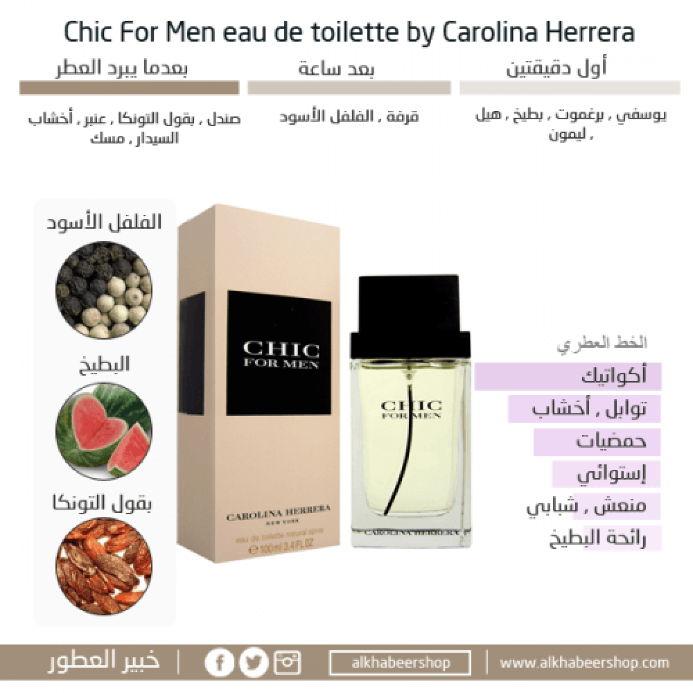 Carolina Herrera Chic for Men Eau de Toilette 100ml خبير العطور