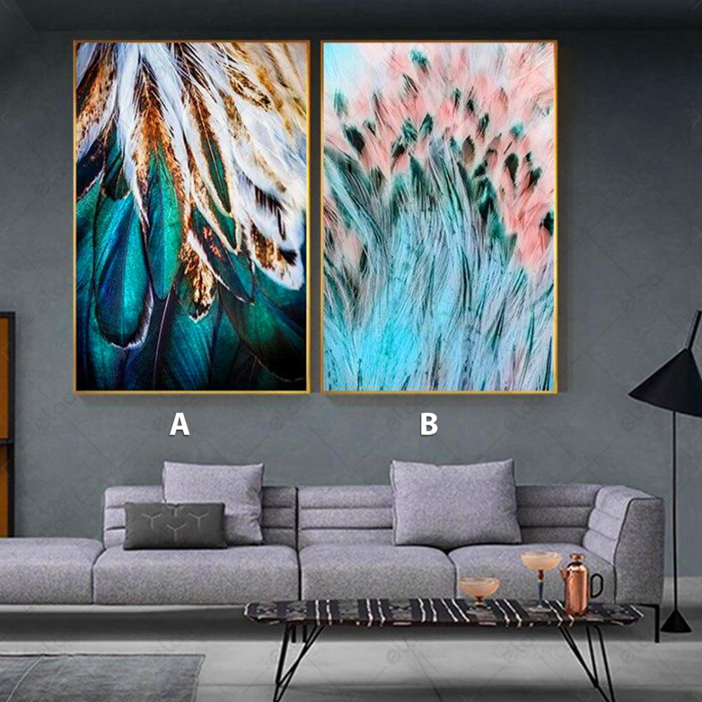 لوحات فنية لمنظر طبيعي لريش باللون الفيروزي والوردي والأبيض