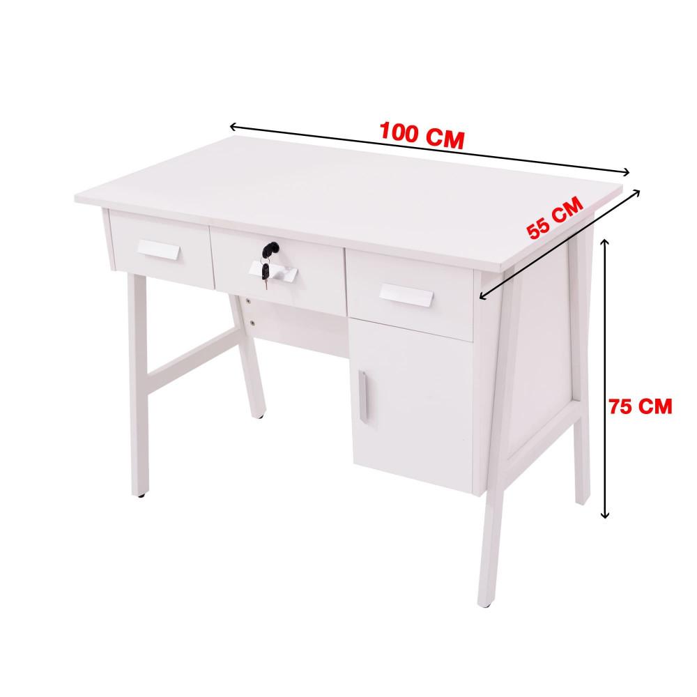 مكتب كاما 100 سم ابيض  9607-100-W