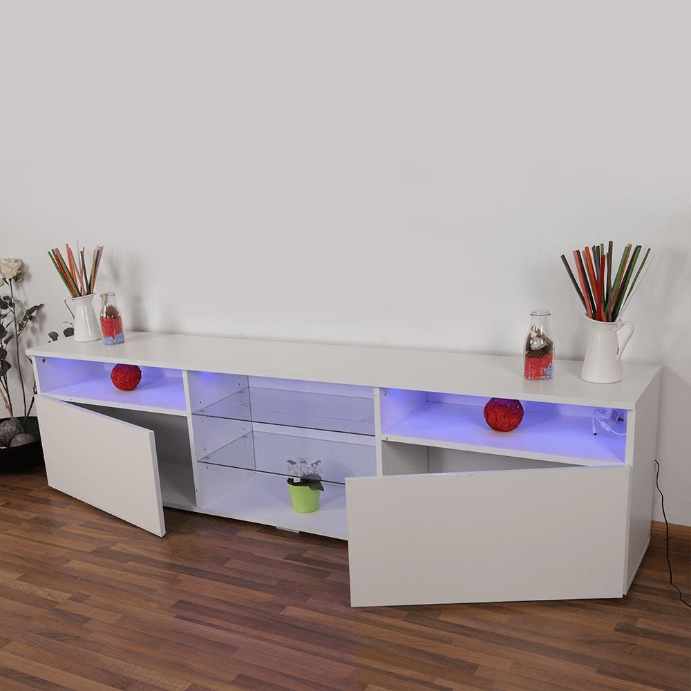 أفضل طاولة تلفاز خشبية بثلاث رفوف وخزانتين ماركة NEAT HOME من مواسم
