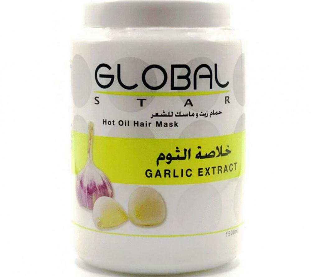 جلوبال ستار حمام زيت وماسك للشعر 1500مل بخلاصة الثوم GLOBAL STAR HOT G