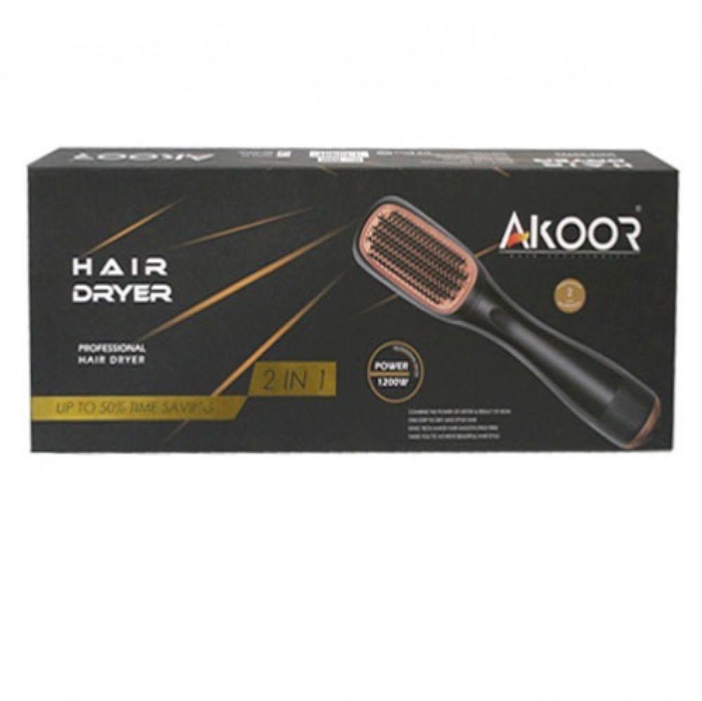 اكوور  مجفف ومصفف شعر 2 في 1 ذهبي  AKOOR Hair Dryer and Styler 2 In 1