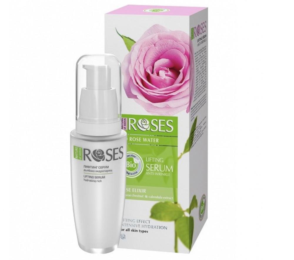 روزس سيروم لشد الوجه بخلاصة ماء الورد الحيوي وزيت اللوز ومضاد للشيخوخة