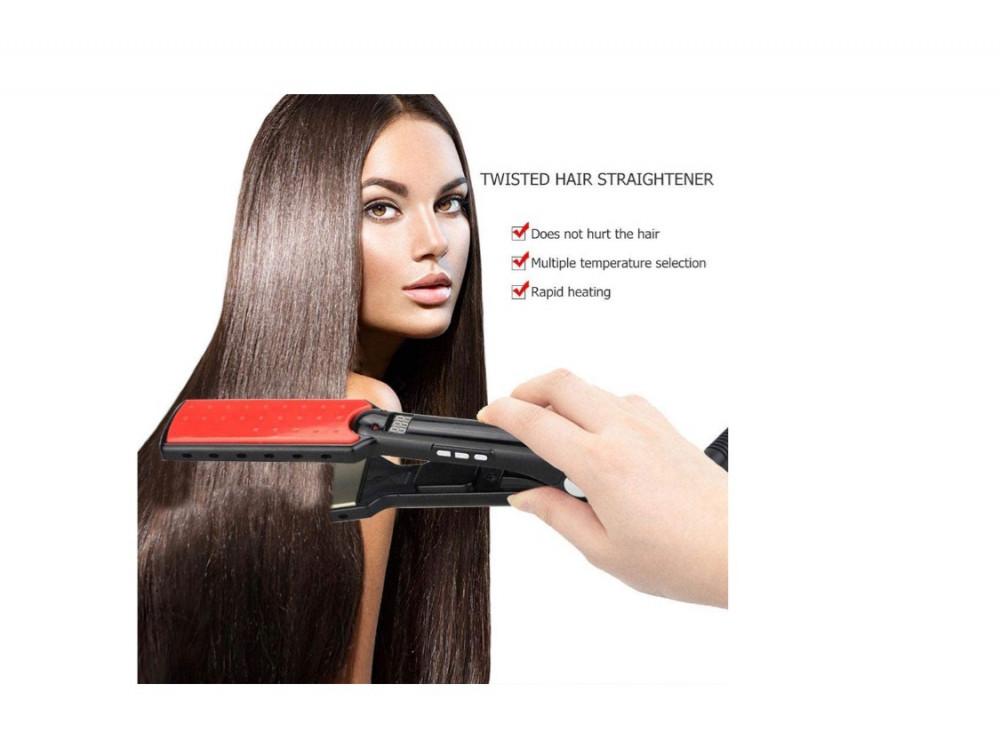 سوفت باور  مكواة شعر رقمية مسطحة من السيراميك والتيتانيوم لفرد الشعر S