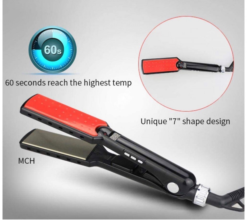 سوفت باور مكواة شعر رقمية مسطحة من السيراميك والتيتانيوم SF-1036 بتصمي
