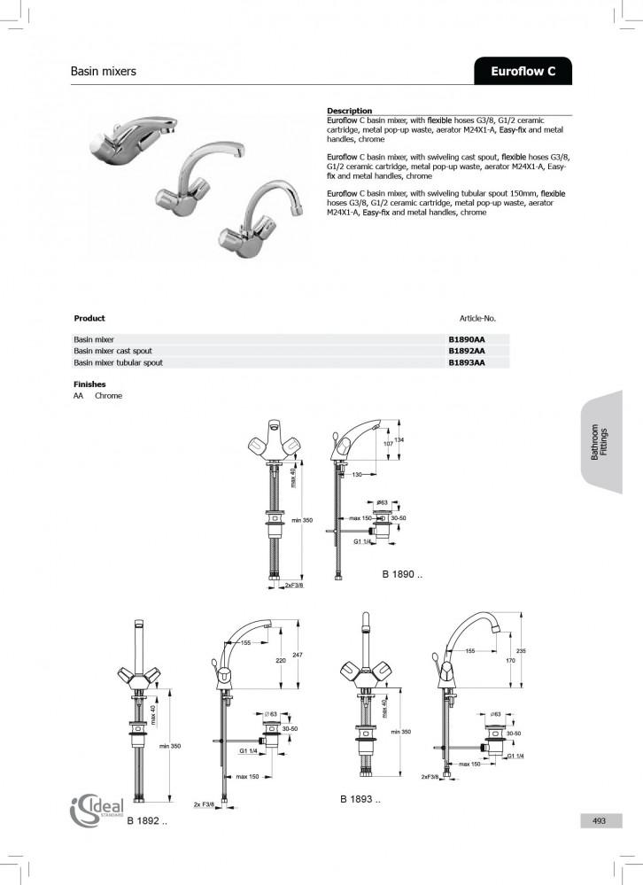 خلاط مغسلة ,كروم ,ايديال ستندر يوروفلو ideal stamdard EUROFLOW