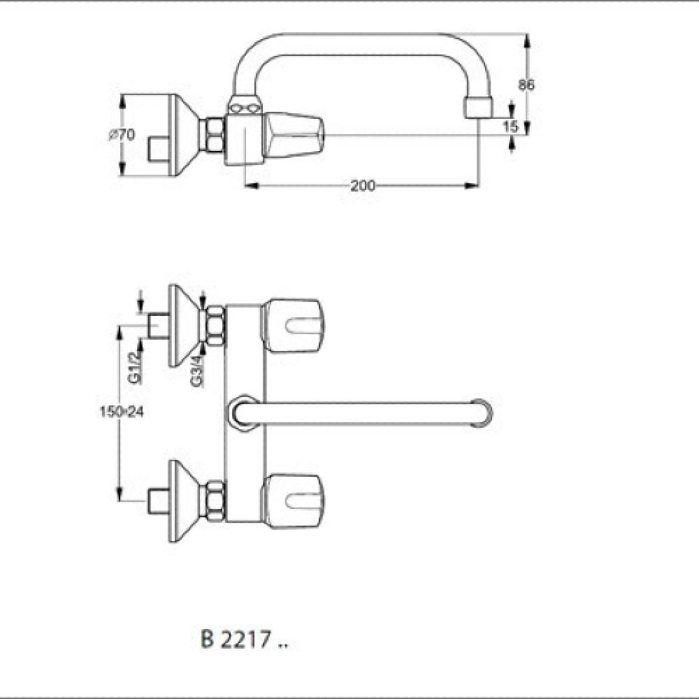 خلاط مطبخ مجلى جداري ,كروم ,ايديال ستندر يوروفلو ideal stamdard EUROFL