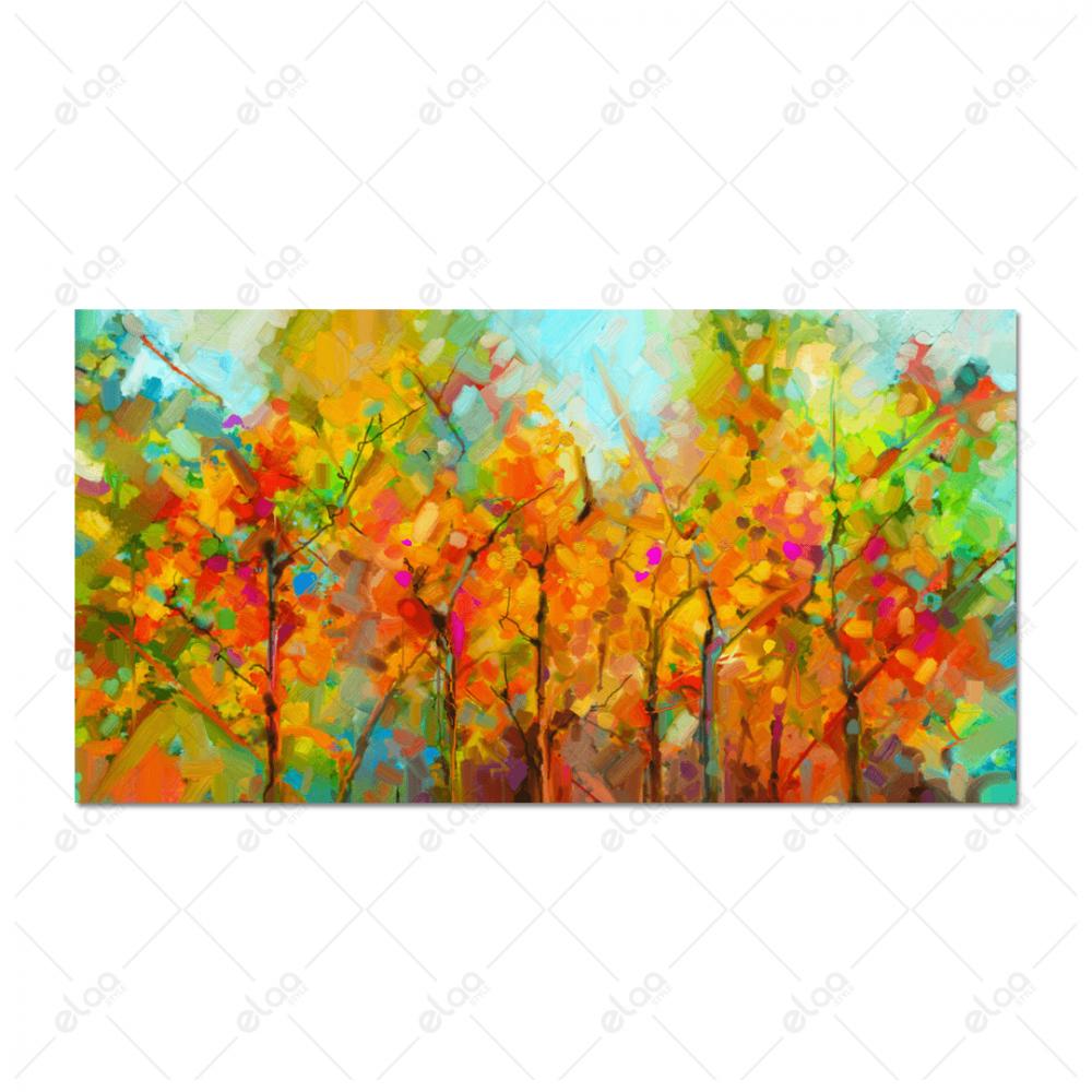 لوحة فن تجريدي بخليط من الوان الربيع لاشجار