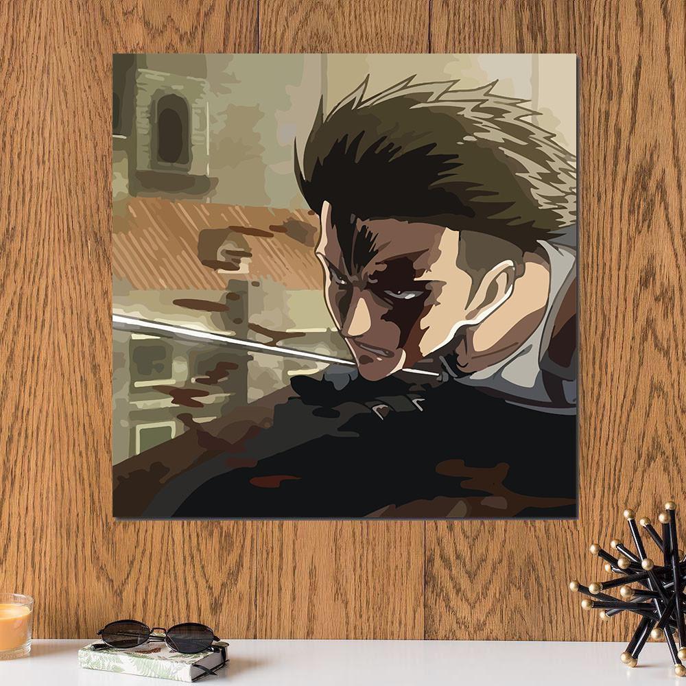 لوحة انمي اتاك اون تايتن خشب ام دي اف مقاس 30x30 سنتيمتر