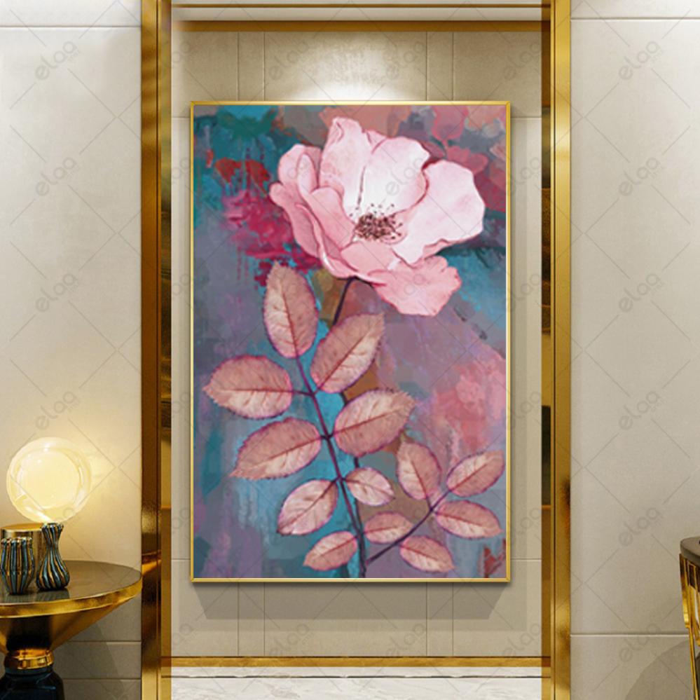 لوحة فن تجريدي لورود باللون الوردي الفاتح بخلفية درجات التركواز والورد