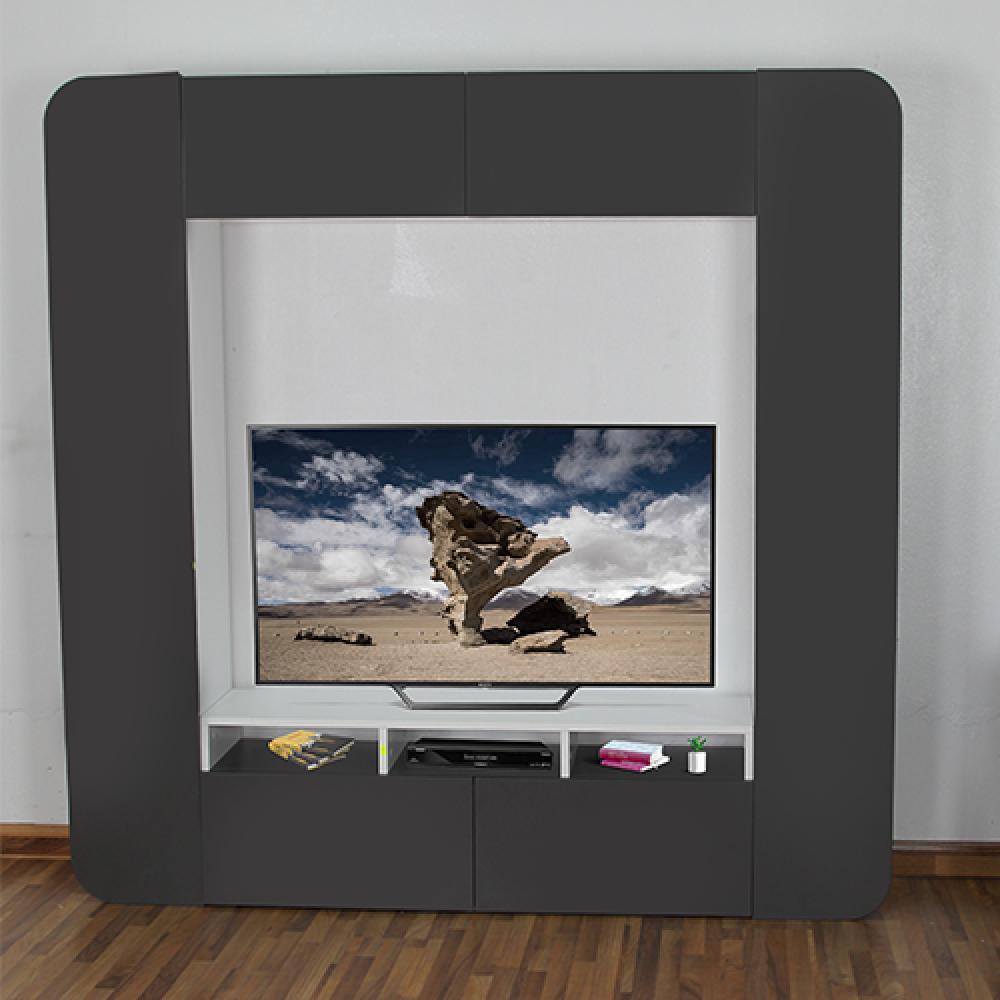 متجر مواسم طاولة التلفاز الخشبية موديل أوفيس ستايل بعد تركيب التلفاز