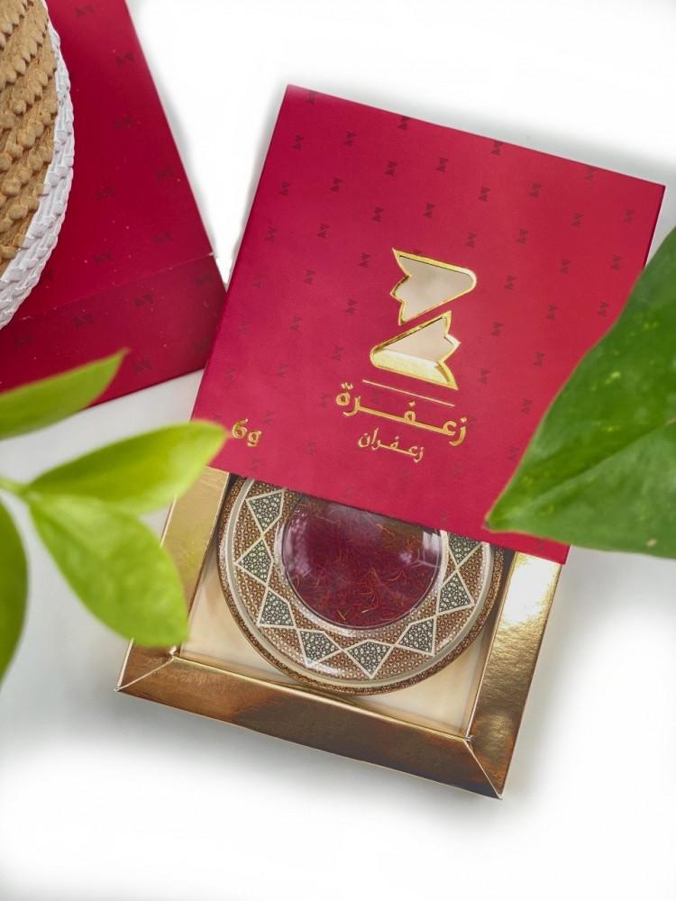 علبة حمراء  تحتوى على زعفران ابوشال صافي ونقي وزن 6 جرام