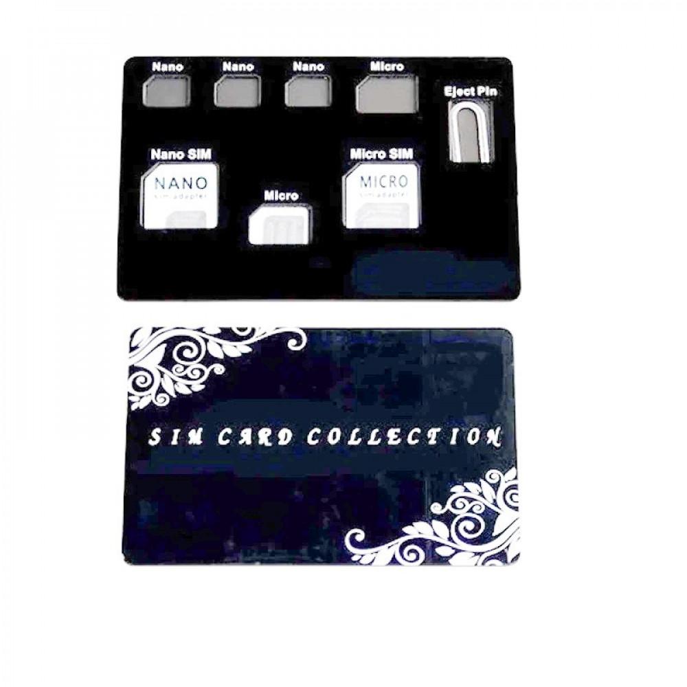 حامل شرائح الهاتف نانو 8 في 1 مع مجموعة محولات بطاقة ودبوس اخراج شريحة
