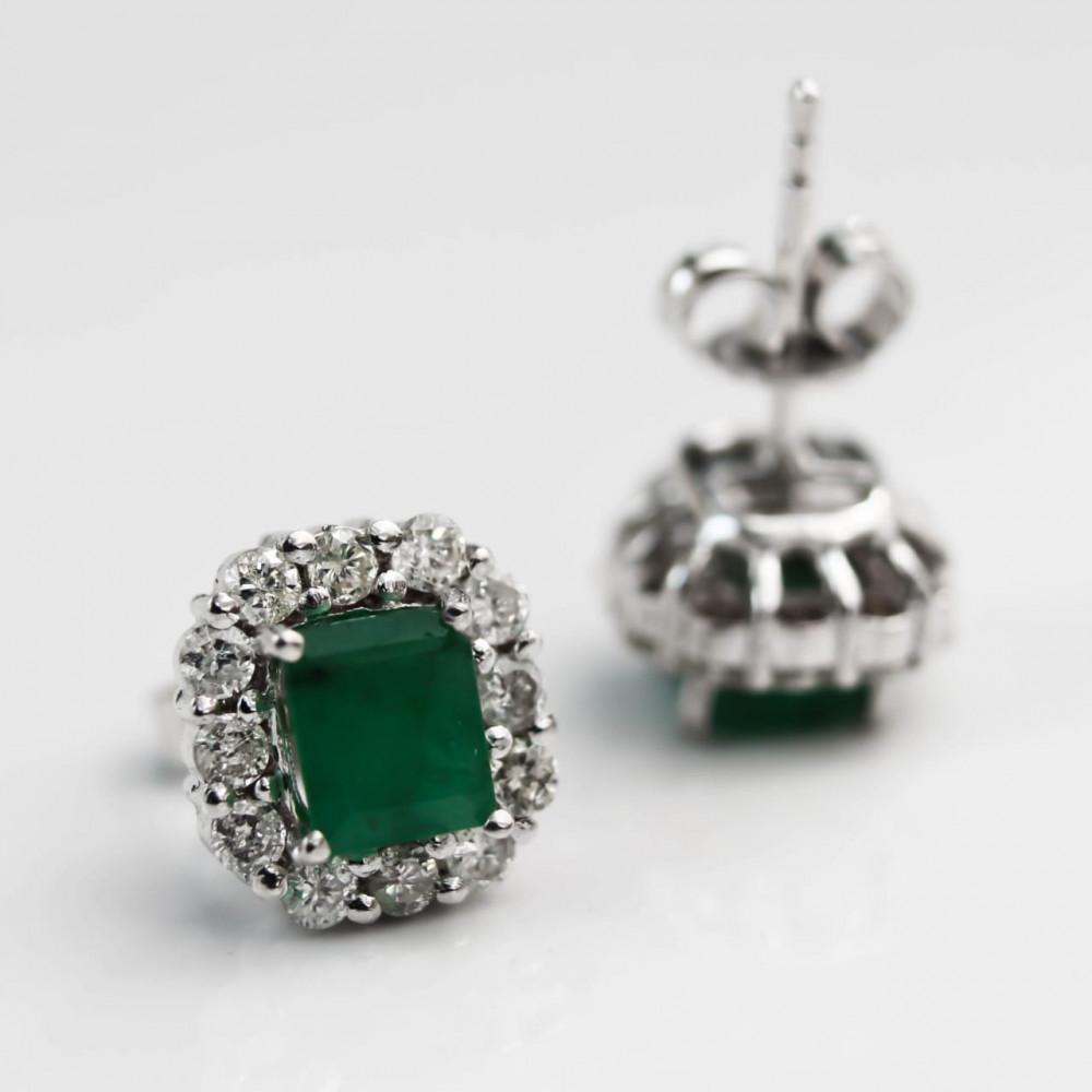 أقراط الماس وزمرد اخضر فينتج عيار 18