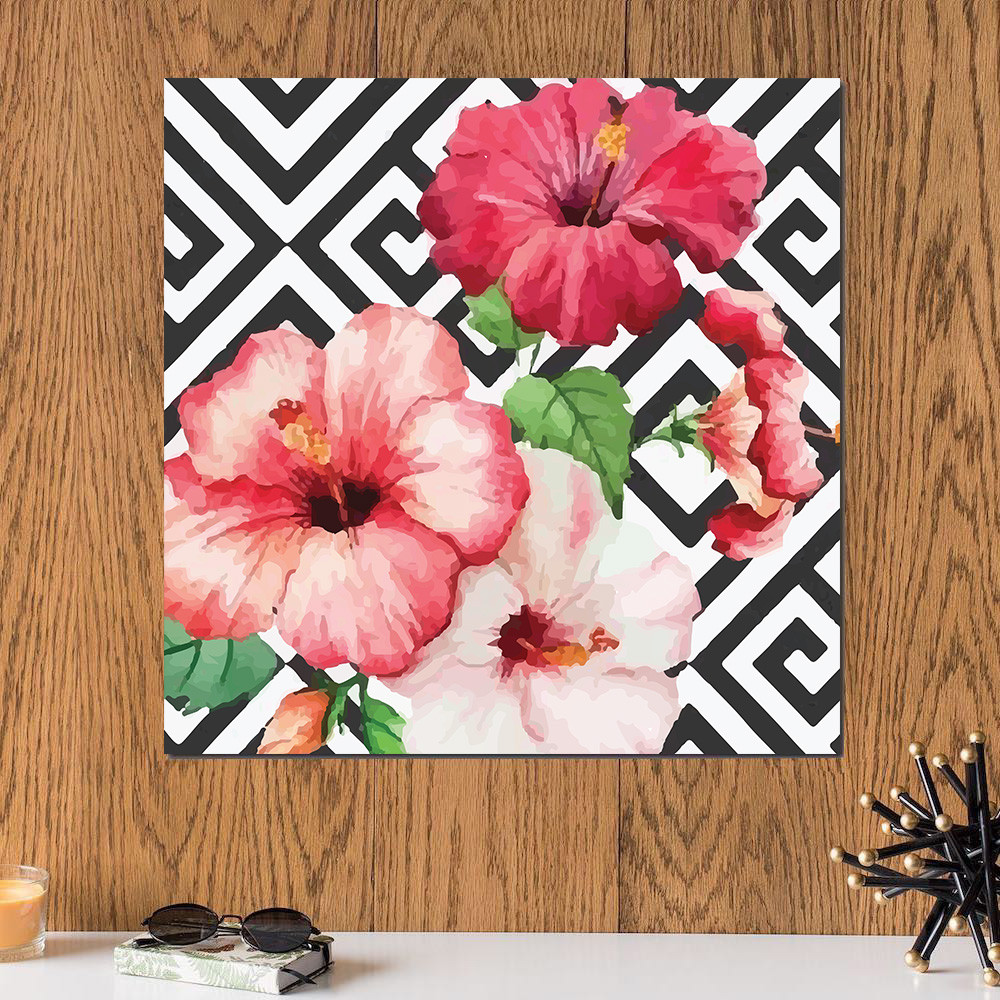 لوحة الورود خشب ام دي اف مقاس 30x30 سنتيمتر